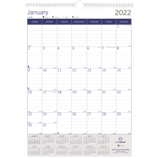 Brownline DuraGlobe Monthly Wall Calendar 12