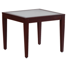 Lorell Glass Top Square Table ClearMahogany