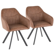 LumiSource Clubhouse Pleated Chairs BlackBrown Set