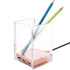 Acrylic Pen Pencil Ruler Stationery Holder