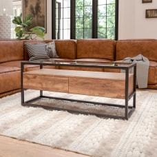 Flash Furniture Rustic Glass Coffee Table