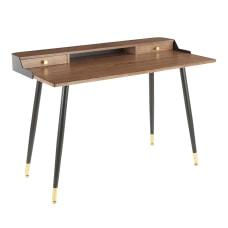 LumiSource Harvey 48 W Desk WalnutBlack