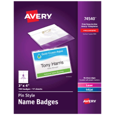 Avery Pin Style Name Badge Kits