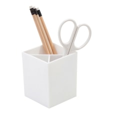 Realspace White Plastic 3 Compartment Pencil