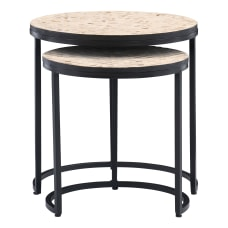 Powell Drea Nesting Tables Matte BlackNatural
