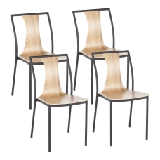 LumiSource Osaka Chairs BlackNatural Set Of