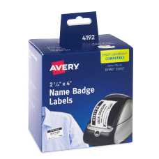 Avery Thermal Rectangle Name Badge Labels