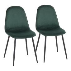 LumiSource Pebble Velvet Chairs GreenBlack Set