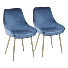LumiSource Diana Contemporary Chairs BrassBlue Set