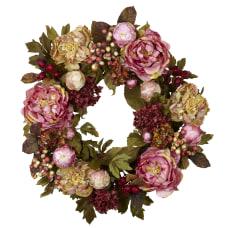 Nearly Natural Polyester Peony Hydrangea Wreath