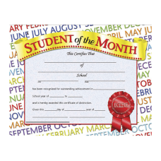 Hayes Student Of The Month Certificates