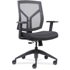 Lorell MeshFabric Mid Back Chair Black
