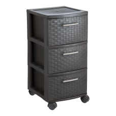 Inval Poly 3 Drawer Rolling Storage