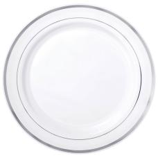 Amscan Plastic Plates 10 14 WhiteSilver
