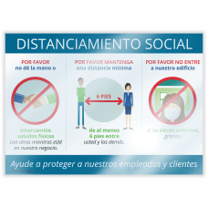 ComplyRight Social Distancing Window Cling Spanish
