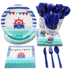 Disposable Dinnerware Set Serves 24 Nautical