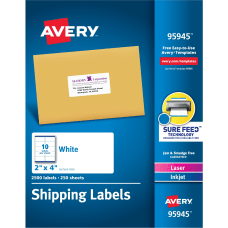 Avery Shipping Labels Sure FeedTM Technology