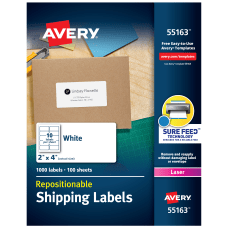Avery Repositionable Permanent Shipping Labels 55163