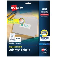 Avery Inkjet Repositionable Address Labels 58160