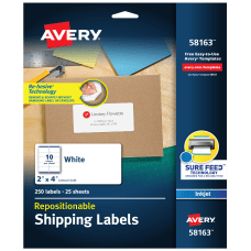 Avery Repositionable Inkjet Shipping Labels 58163