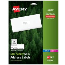Avery Easy Peel EcoFriendly Permanent InkjetLaser