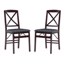 Linon Bradford X Back Folding Chairs