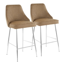 LumiSource Marcel Contemporary Counter Stools ChromeBrown