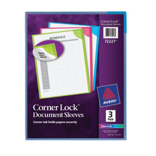 Avery Corner Lock Document Sleeves Holds