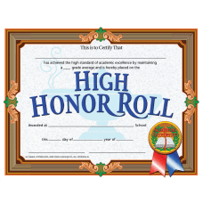 Hayes High Honor Roll Certificates 8