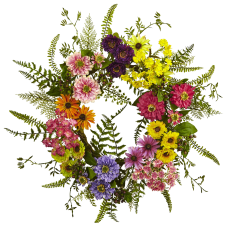 Nearly Natural Polyester Mixed Flower Wreath