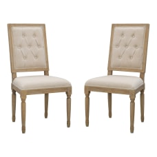 Linon Leigh Dining Chairs Rustic BrownNatural