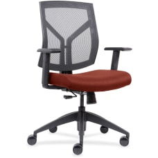 Lorell MeshFabric Mid Back Chair OrangeBlack
