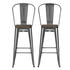 DHP Luxor Metal Bar Stools Charcoal
