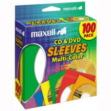 Maxell CDDVD Sleeves Assorted Colors Pack