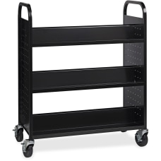 Lorell Double sided Book Cart Black