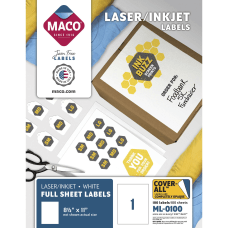 MACO White LaserInk Jet Full Sheet