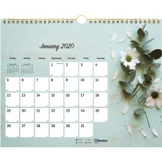Rediform Romantic Flowers Monthly Wall Calendar