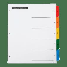 SKILCRAFT Numerical Index Divider Sheets Letter